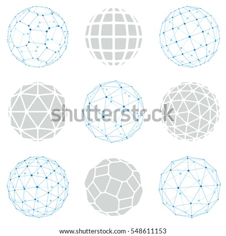 Set Vector Low Poly Spherical Objects Stock Vector 477036505 ...
