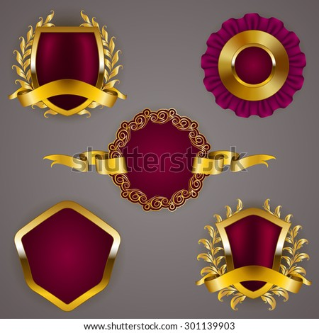 Set of luxury gold badges with crown, ribbon. Exclusive offer, premium product, 100 percent top quality guaranteed. Promotion emblems, icons, labels, medal, blazons for web, page design. Illustration.