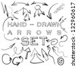 Set of many hand-drawn arrows isolated on white for your design or web site. - stock vector