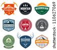 Set of mountain adventure and expedition badges - stock photo