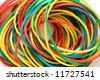 Set of multi-coloured  elastic bands close up - stock photo