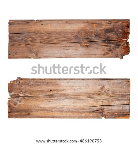 Set of old wooden planks isolated on white