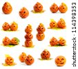 Set of orange halloween pumpkins Jack O Lanterns isolated on white background - stock photo
