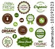 Set of organic and farm fresh food badges and labels - stock photo