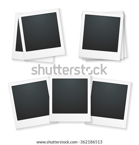 Set of photo frames on white background