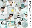 Set of pictures of scientists working in the lab, tinted image - stock photo