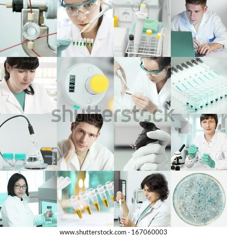 Set of pictures of scientists working in the lab, tinted image