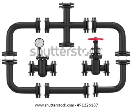 Set of pipeline elements isolated on white background. Rotary elements, a valve, straight and cross. 3d rendering