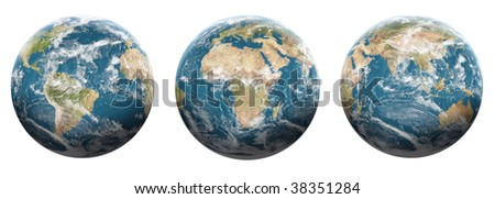 Set of planet earth with halo on White background - Ready for your artwork and creation