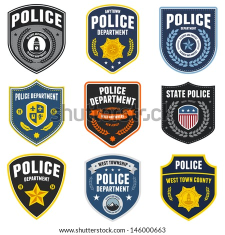 Set Police Law Enforcement Badges Logo Stock Vector ...