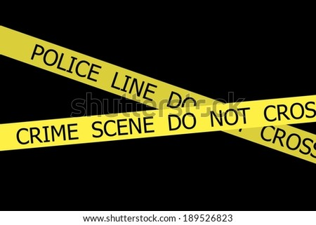 Set of Police tapes POLICE LINE DO NOT CROSS and CRIME SCENE DO NOT CROSS on black background