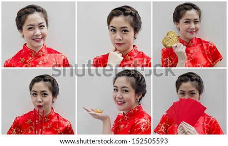 set of pretty chinese young woman for happy chinese new year