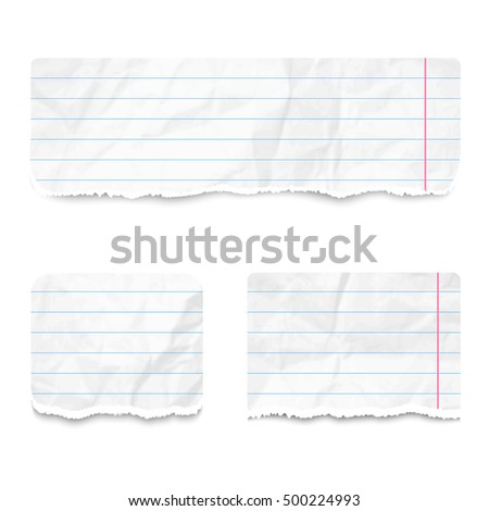 Set of realistic pieces of white lined torn crumpled paper, isolated on white background.