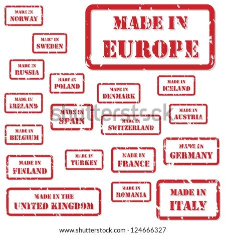 Set of red rubber stamps of Made In symbols for Europe and surrounds