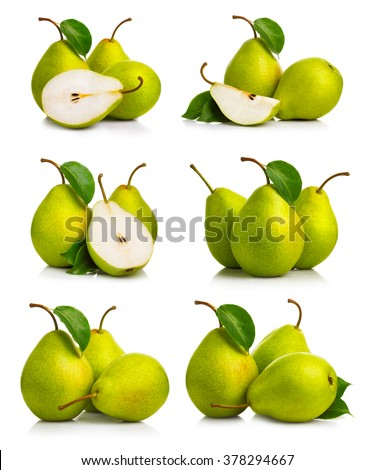 Set of ripe green pear fruits with leaves isolated