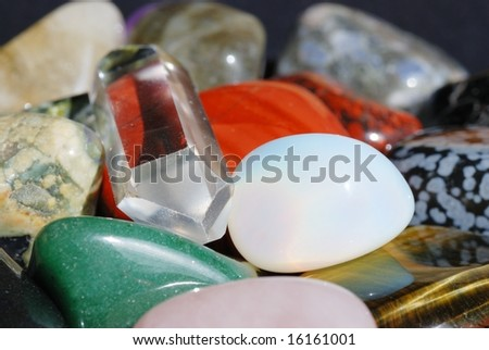 Set of semiprecious gemstones used in alternative medicine for healing and in esoteric