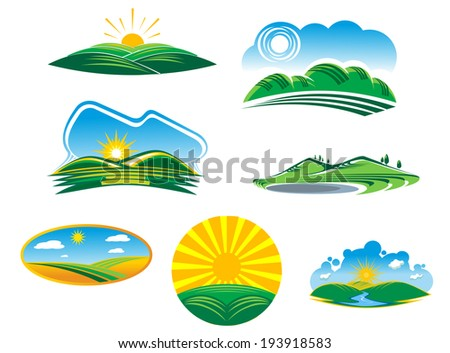 Set of seven different sunny summer landscapes logo with beautiful green fields and hills basking in the rays of sunshine. Vector version also available in gallery