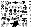 Set of silhouette and outlined icons depicting danger - stock vector