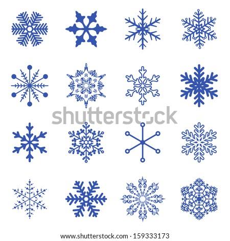 Vector set simple snowflakes stock vector 120197167 shutterstock - Dessin flocon de neige simple ...