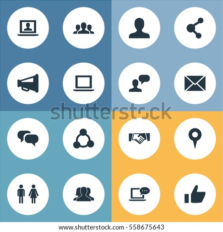 Set Of 16 Simple Social Media Icons. Can Be Found Such Elements As Genus, Web, New Mail And Other.