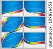 set of six colorful business cards with silver and rainbow ribbons - stock