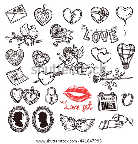 Set Of Sketch Love, Wedding And Valentines Day Doodles