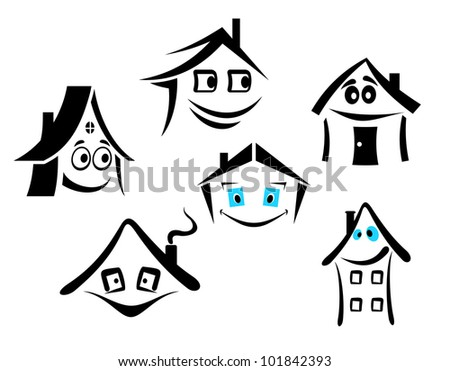 Set of smiling houses for real state design, such logo. Vector version also available in gallery