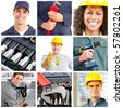 Set of smiling workers and tools - stock photo