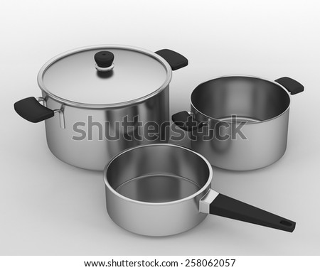 set of stainless steal cooking pots