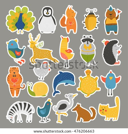 Set of stickers with baby animals. Cat, peacock, penguin, beetle, bear, bird, deer, raccoon, hedgehog, dolphin, heron, tortoise, zebra, dog, snail