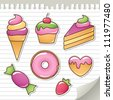 set of stickers with sweets, design elements - stock photo