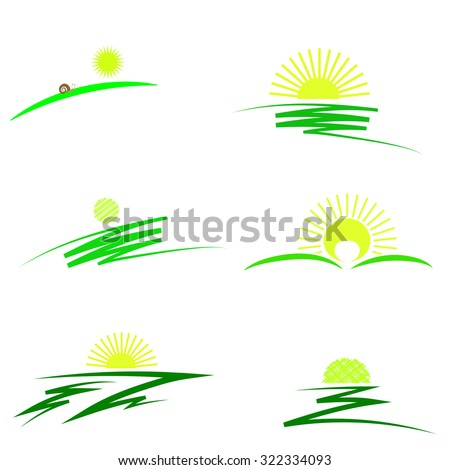 Set of Sun Icons Isolated on White Background