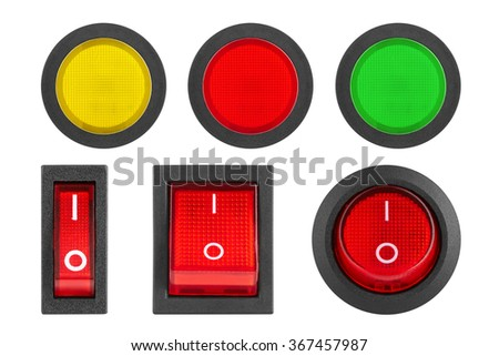 Set of switches and buttons, isolated on white background