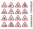 Set of Triangular Warning Hazard Signs. Bitmap copy of image ID 75219445 - stock vector