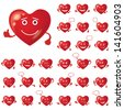 Set of Valentine hearts smileys, love signs, symbolizing various emotions - stock vector