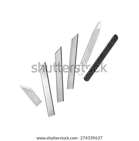 set of various blades isolated on white background
