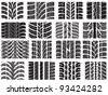 Set of various tyre treads - stock vector