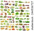 set of vegetable on white background - stock photo