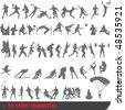 Set of 50 very detailed extreme sport silhouettes - stock vector