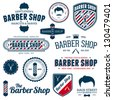 Set of vintage barber shop graphics and icons - stock photo