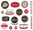 Set of vintage retro restaurant badges and labels - stock photo