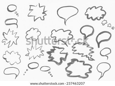 Set of watercolor blobs isolated on white background