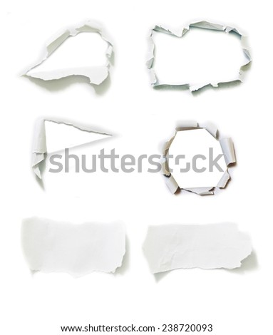 Set of white torn paper isolated over white background