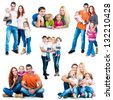set photos of a happy smiling families isolated on white background - stock photo