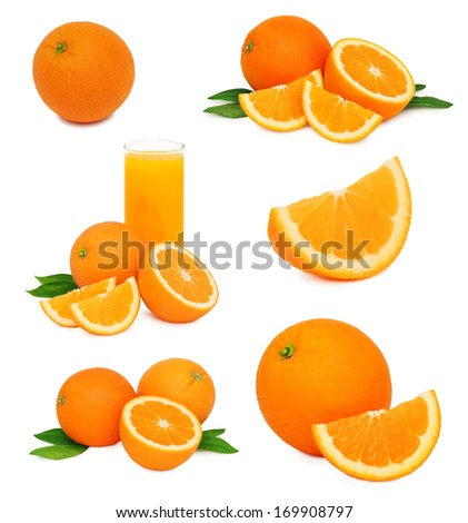 Set ripe orange fruits with green leaves isolated on white background