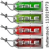 Set Sale Tags on White Background / Metallic green and red tags with steel cable and written sale - stock photo