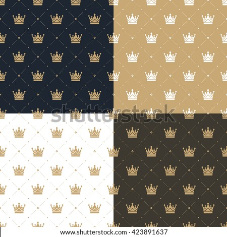 Set seamless pattern in retro style with a white and gold crown on a blue, gold, white and brown background. Illustration