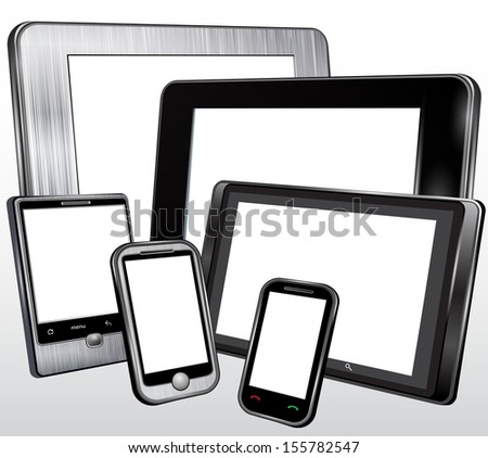 Set, tablet, mobile phone, in the plastic and metal case.