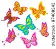 Set various color butterflies on a white background - stock vector