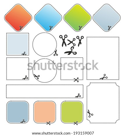 set with different labels for cutting out